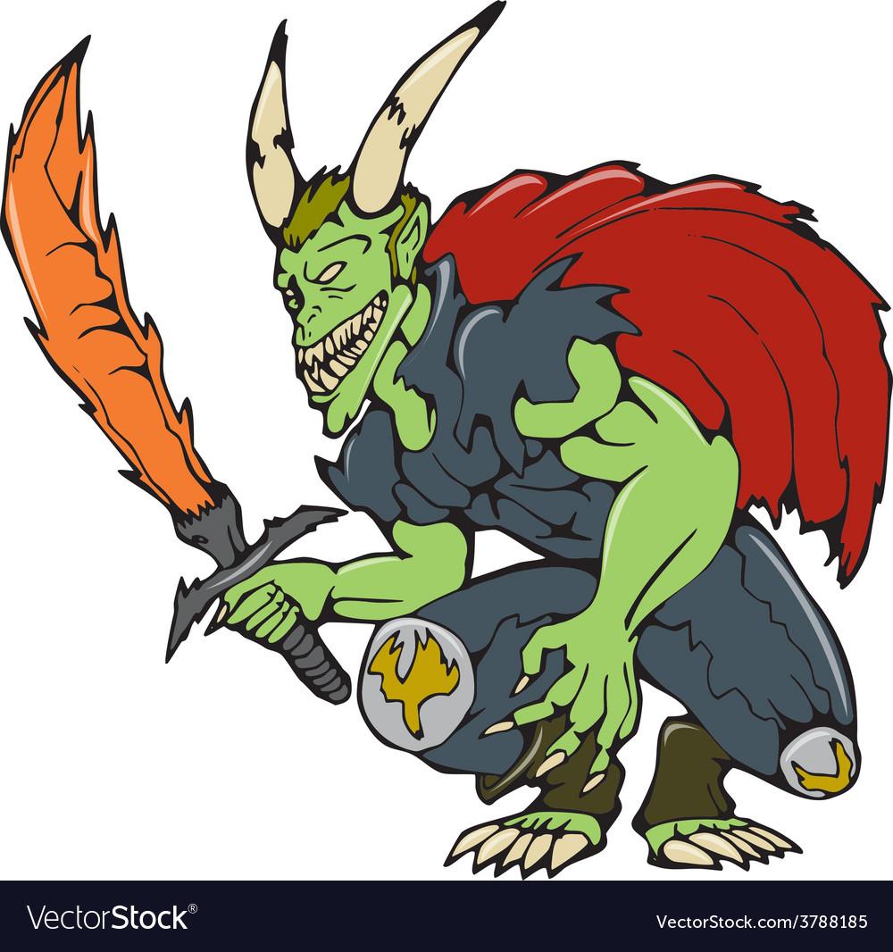 Demon wield fiery sword cartoon vector