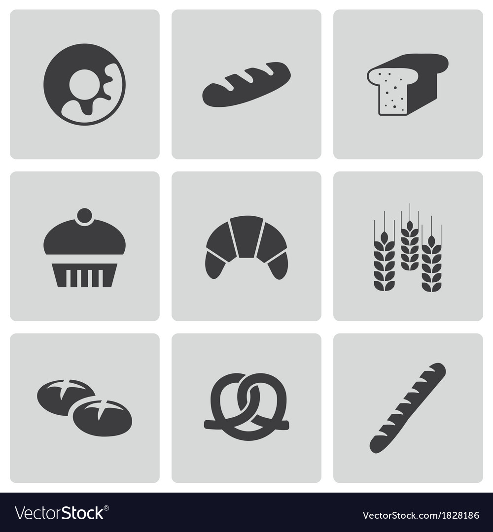 Black bakery icons set vector