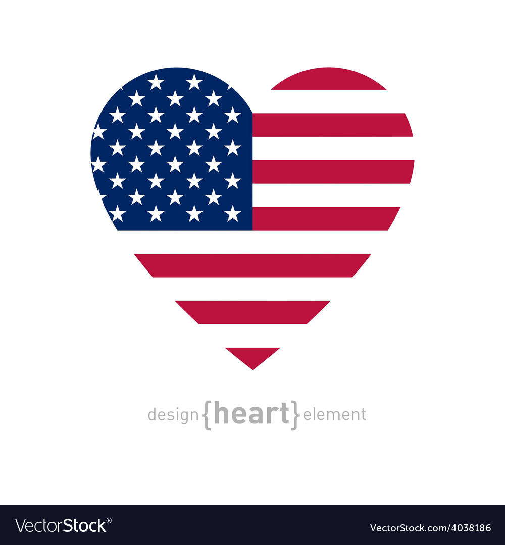 Heart with american flag colors and symbol vector