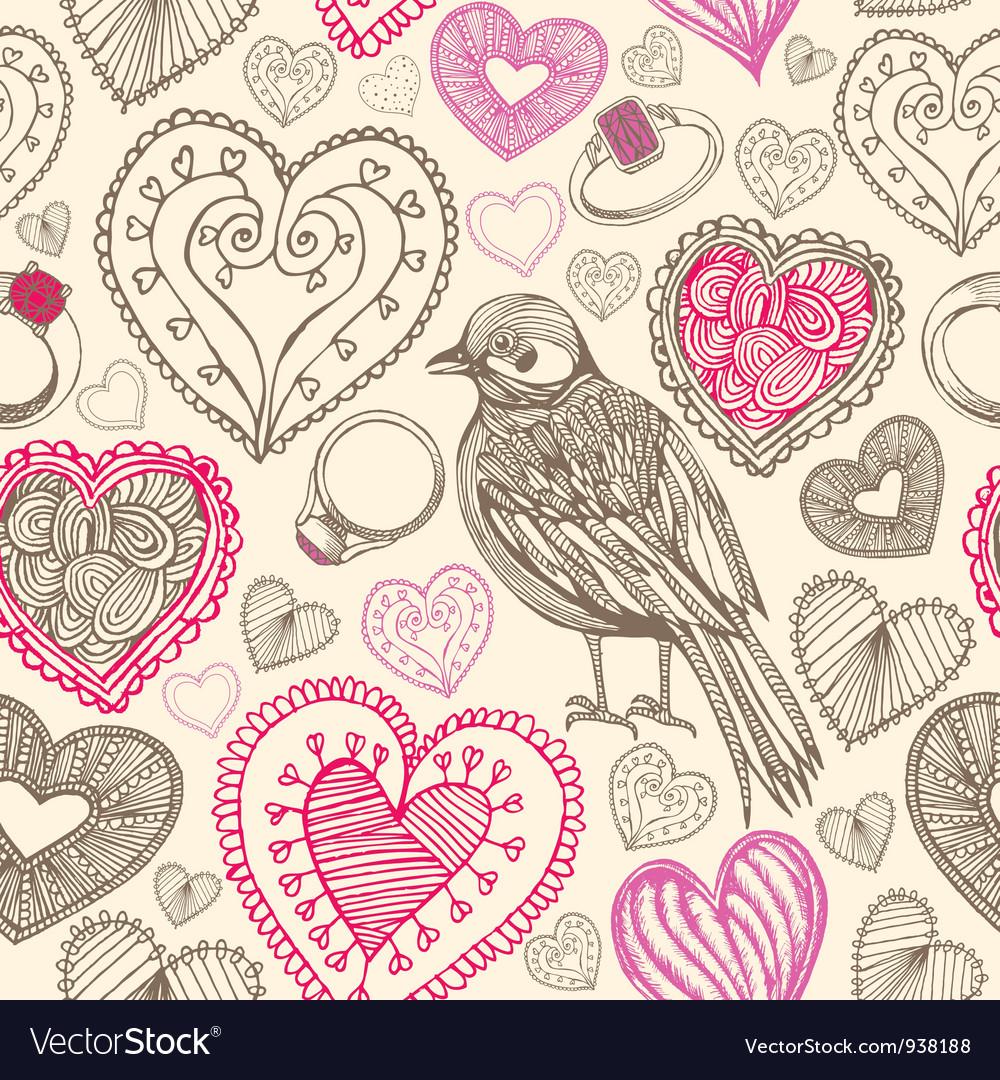 Retro birds hearts doodles pattern vector