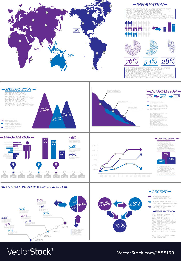 Infographic demographics 8 purple vector