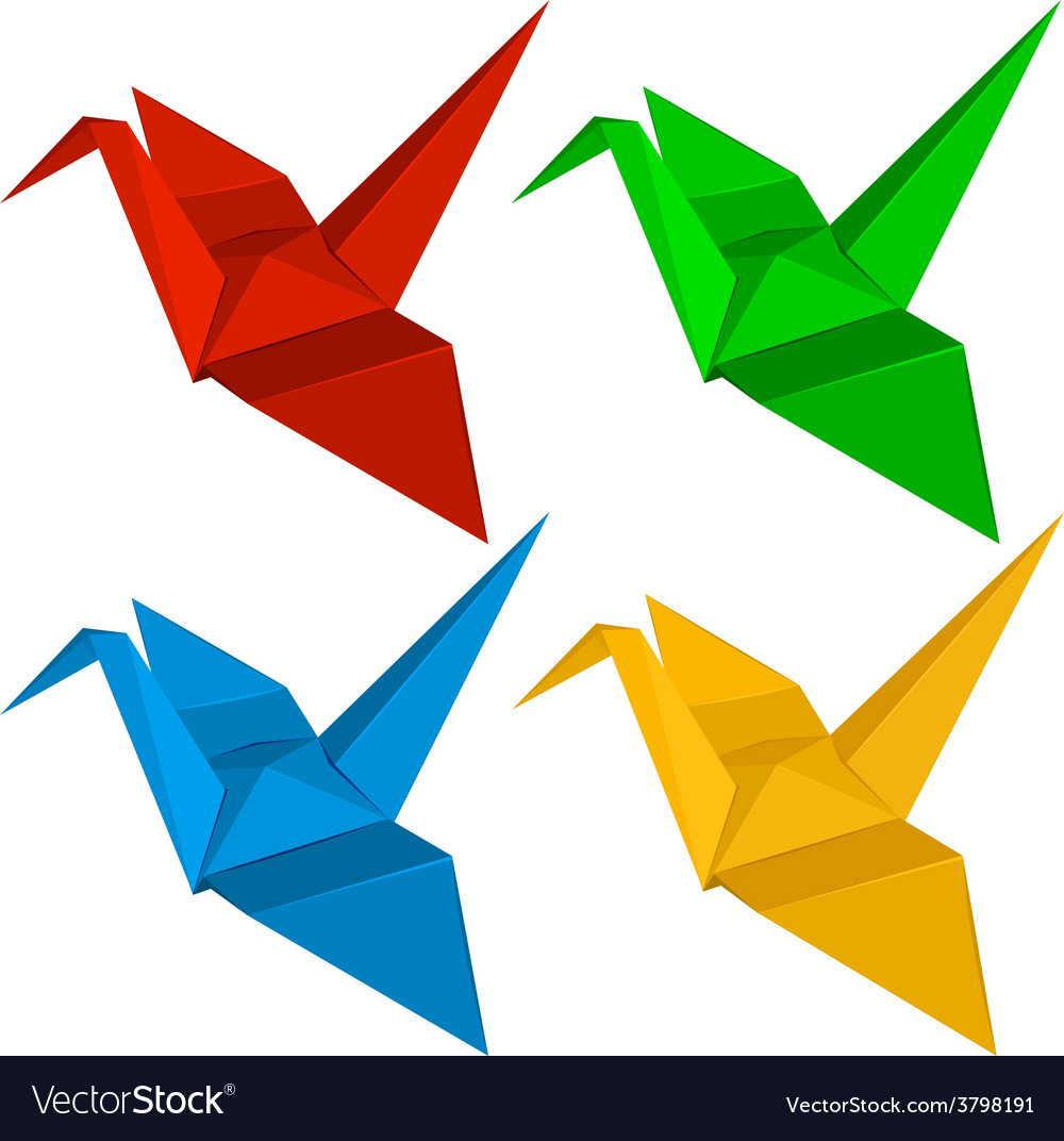 Four origami designs vector