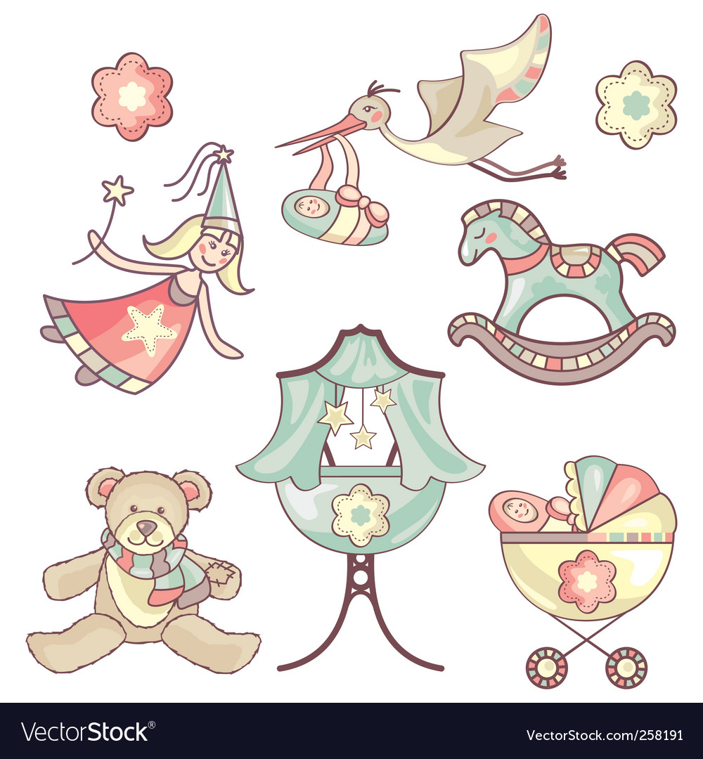 Set of baby products vector
