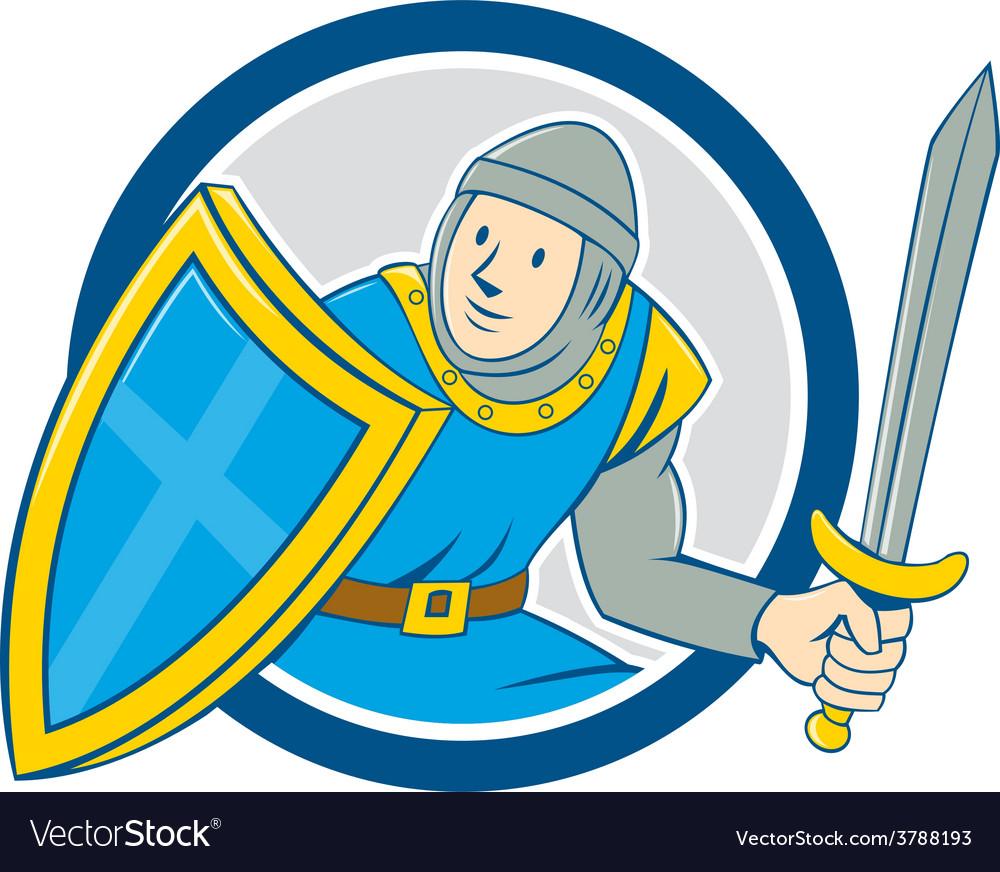 Medieval knight shield sword circle cartoon vector