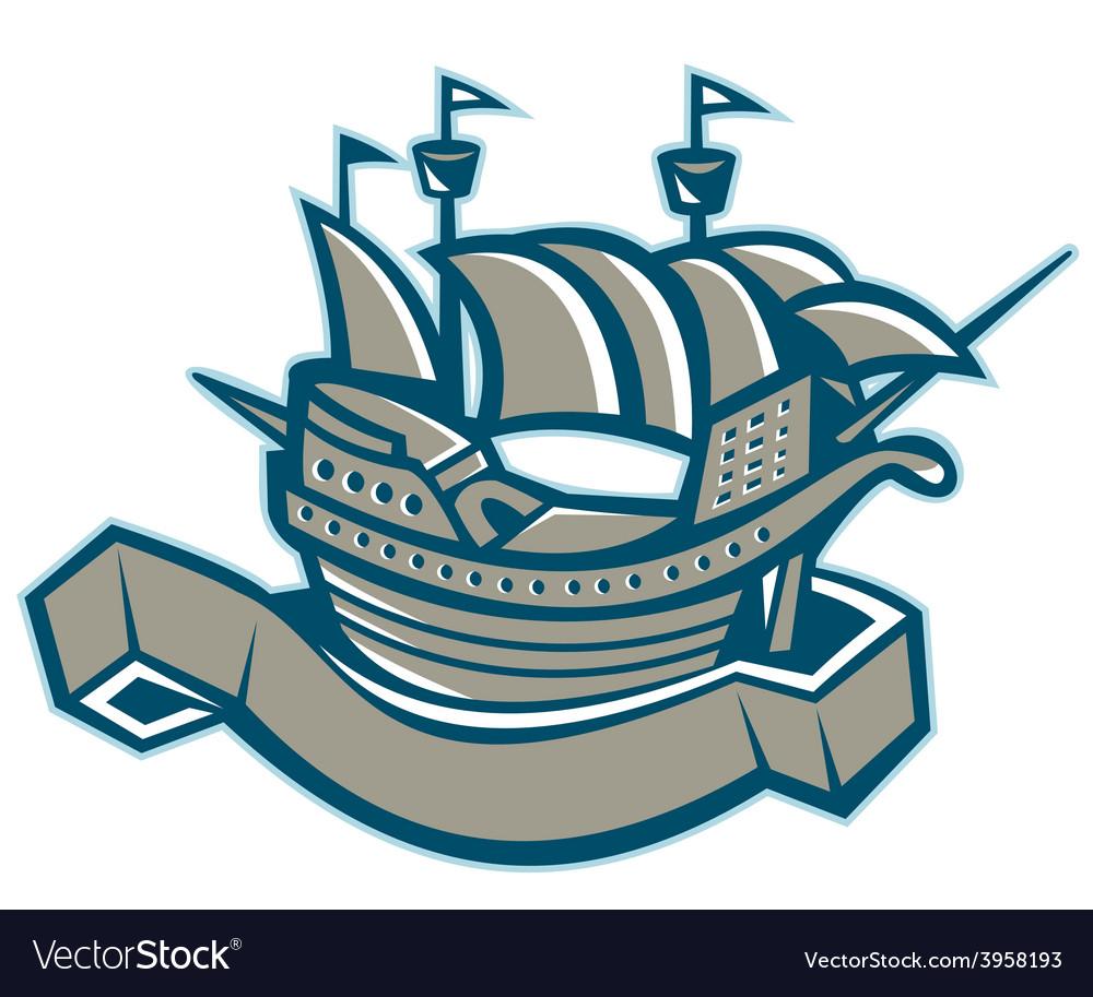 Sailing ship galleon scroll vector