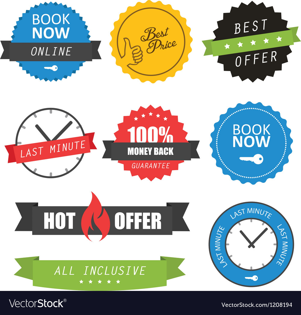 Set of labels and badges for hotels vector