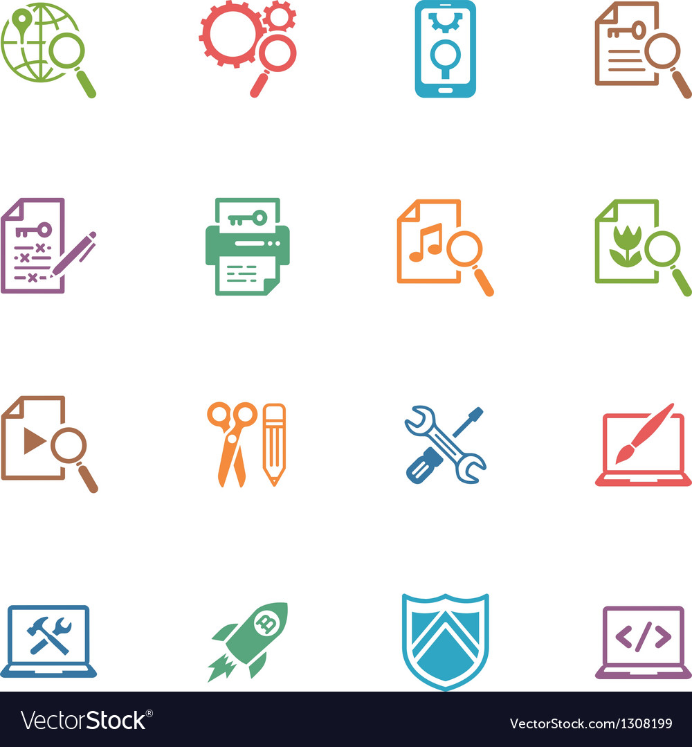 Seo and internet marketing colored icons - set 1 vector