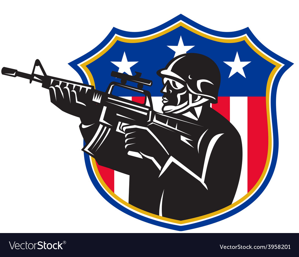 Soldier swat policeman rifle shield vector