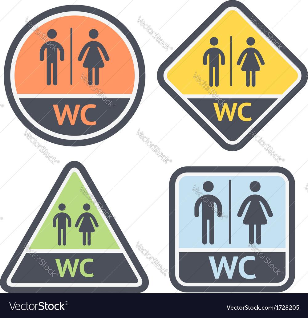 Restroom symbols set flat signs retro color vector