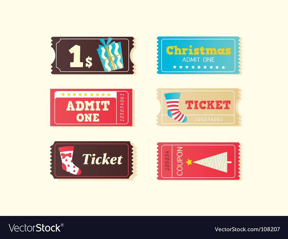 Christmas tickets vector