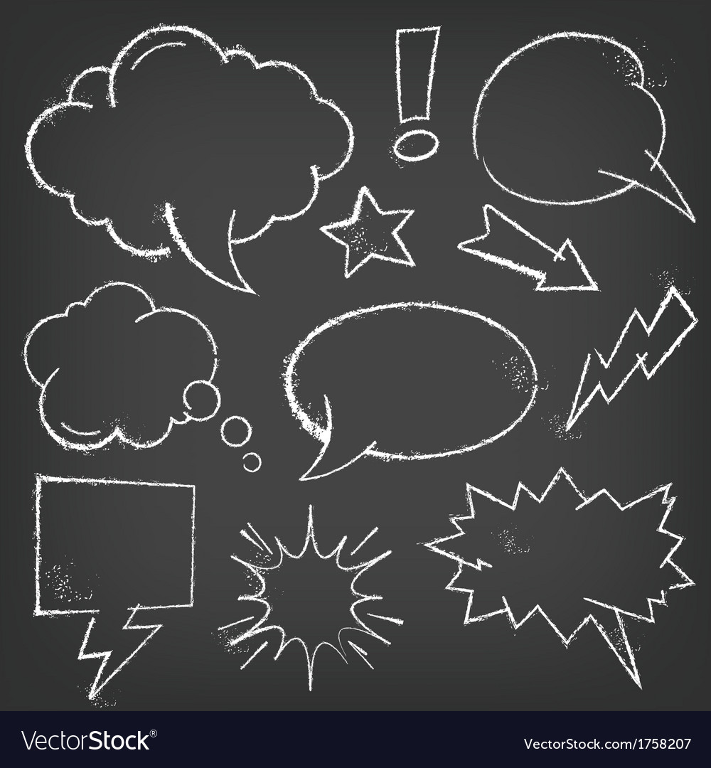 Comic speech bubbles with chalk effect vector