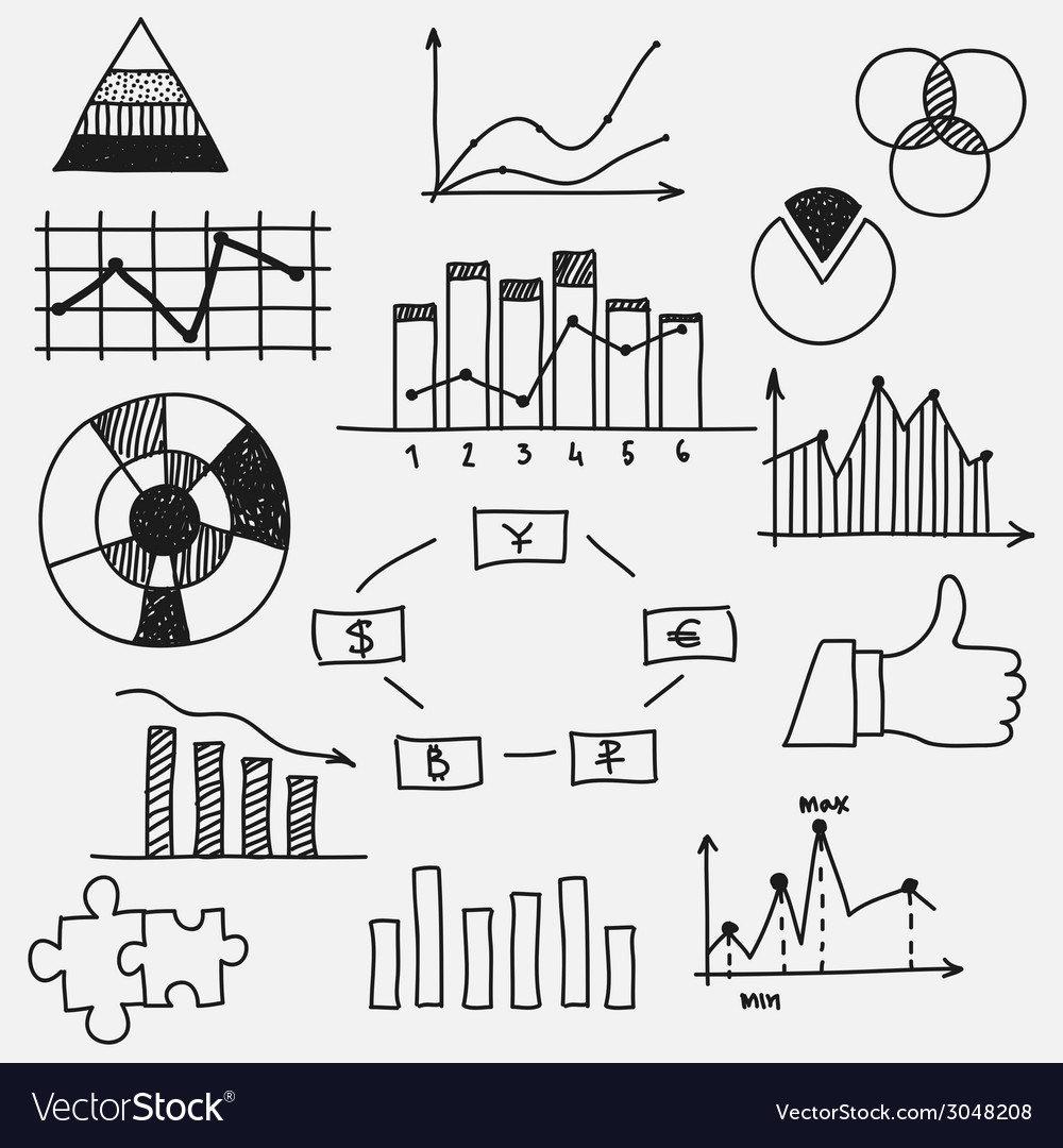 Hand drawn doodle business sketches finance vector