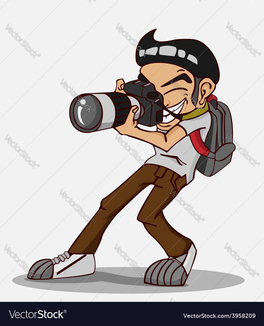 Happy photographer vector