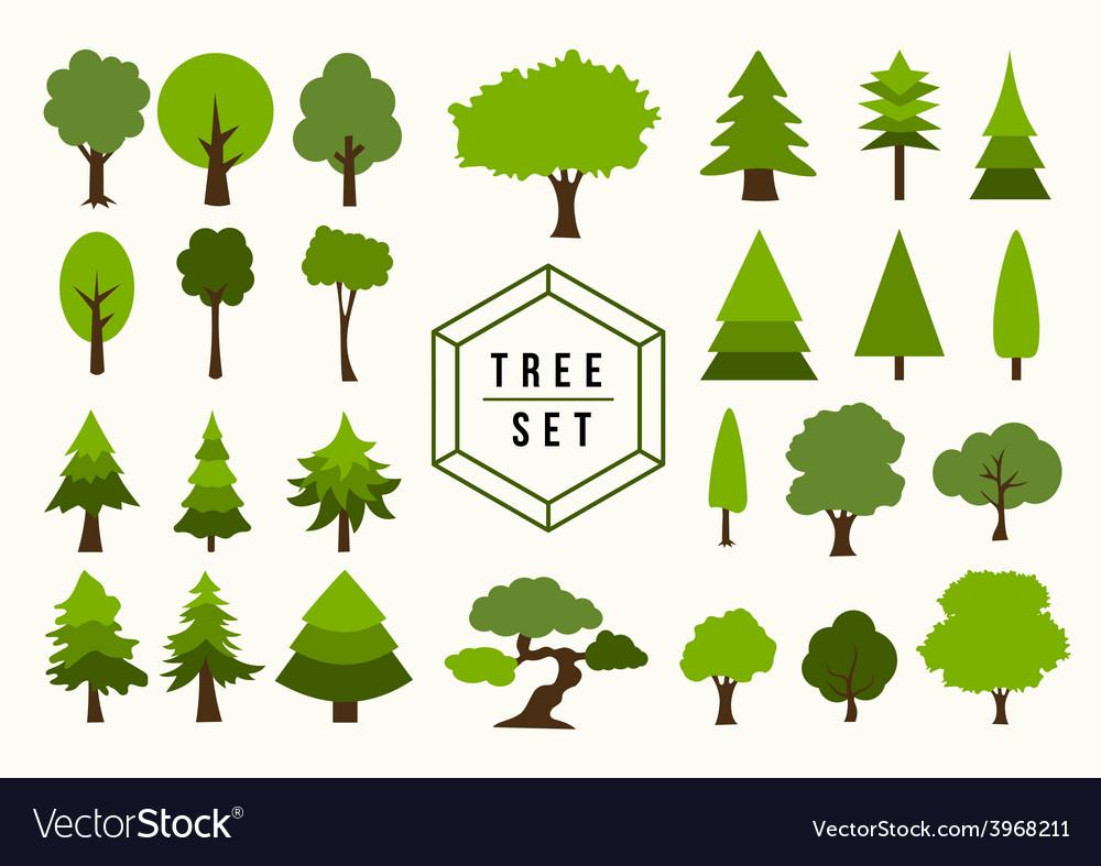 Eco icon tree shapes set vector