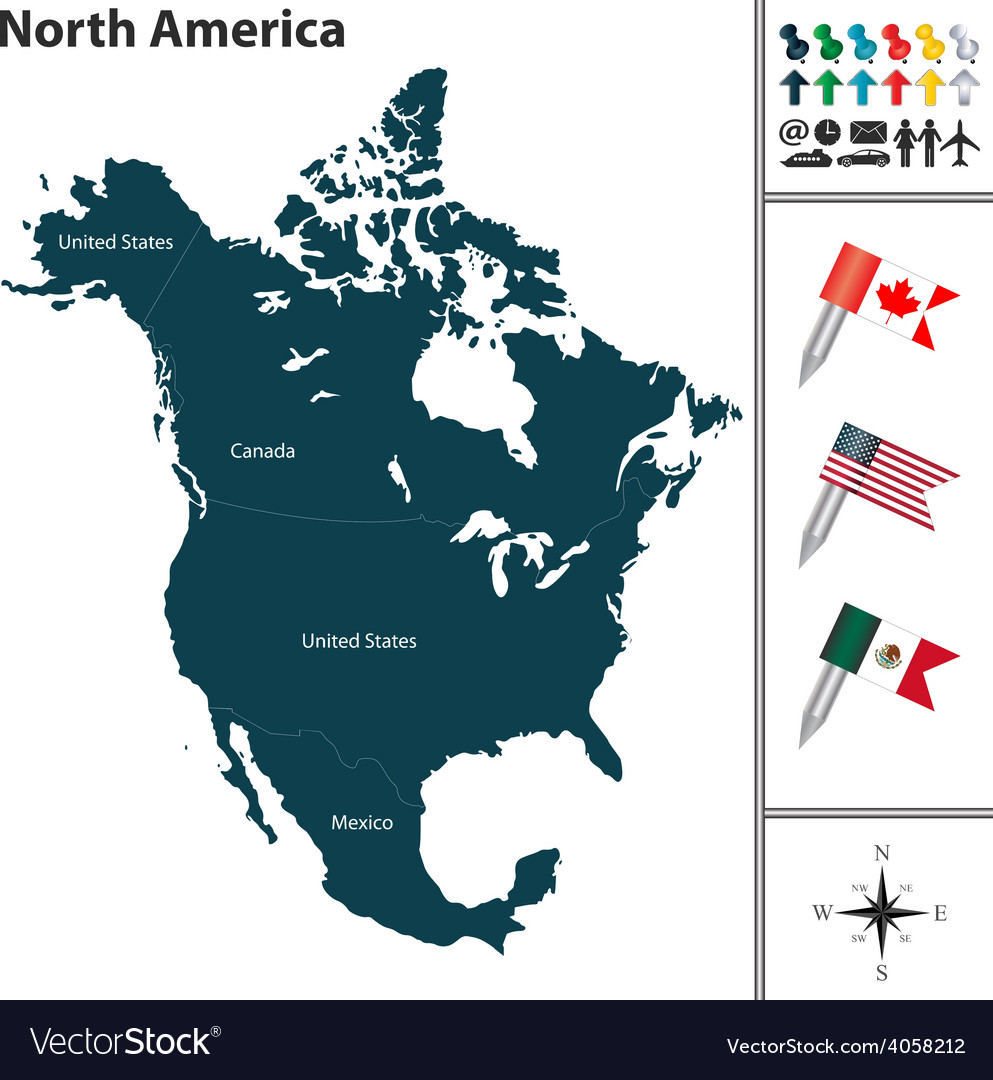 North america map with flags and regions vector