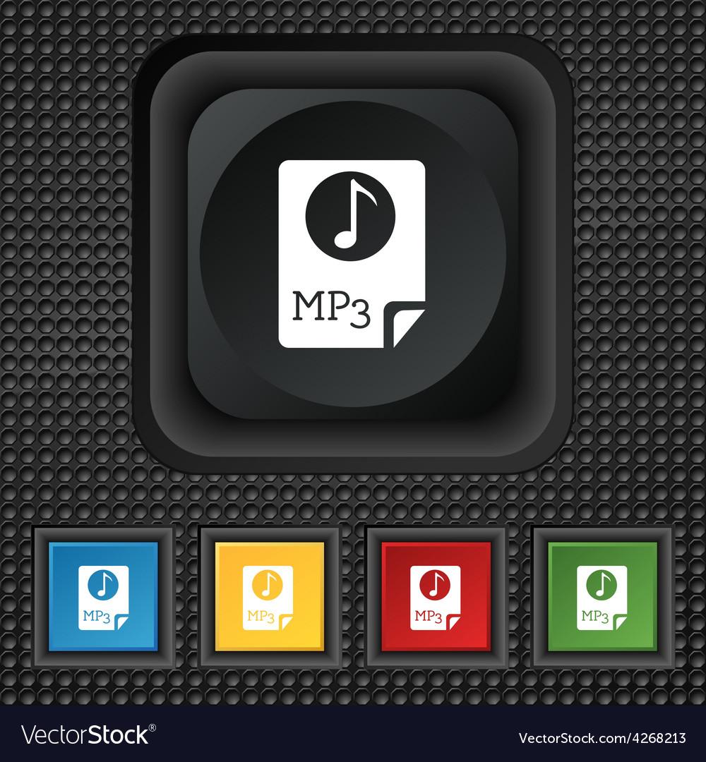 Audio mp3 file icon sign symbol squared colourful vector