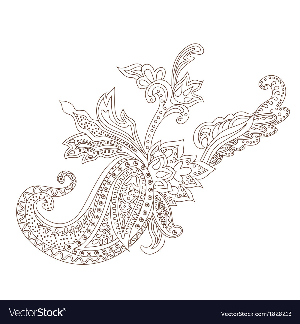 Paisley henna ornament vector