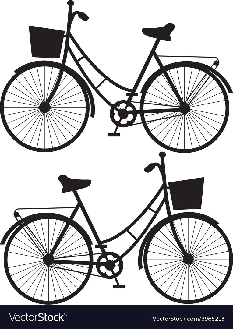 Vintage bicycles black silhouetteon a white vector