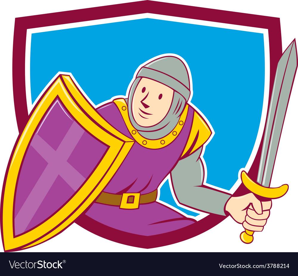 Medieval knight shield sword cartoon vector