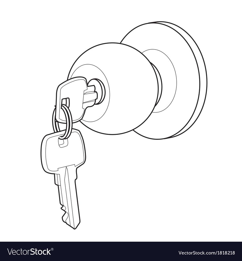 Door knob out line vector