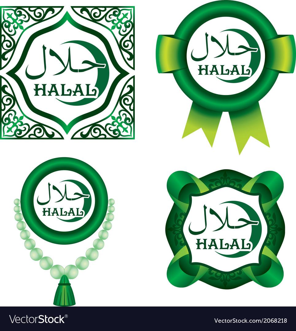 Set of halal signs vector