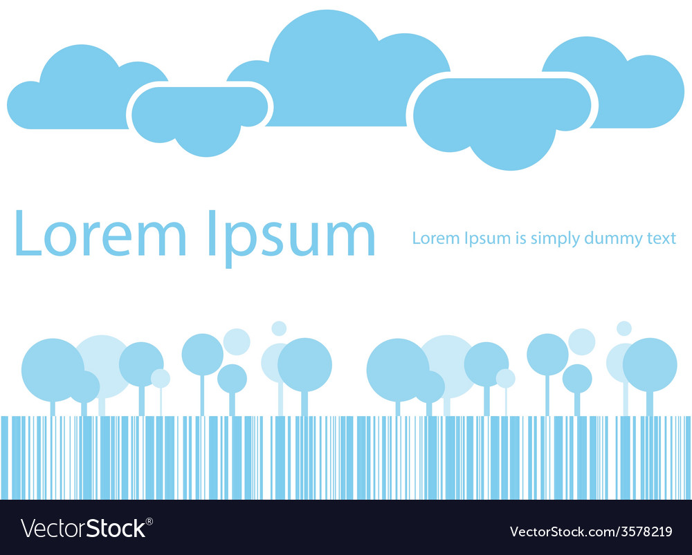 Abstract clouds and trees blue tone vector