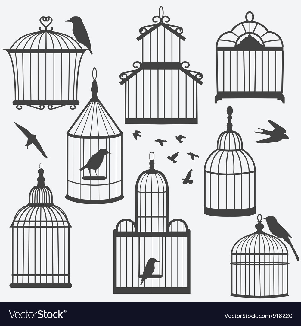 Bird cages silhouette vector