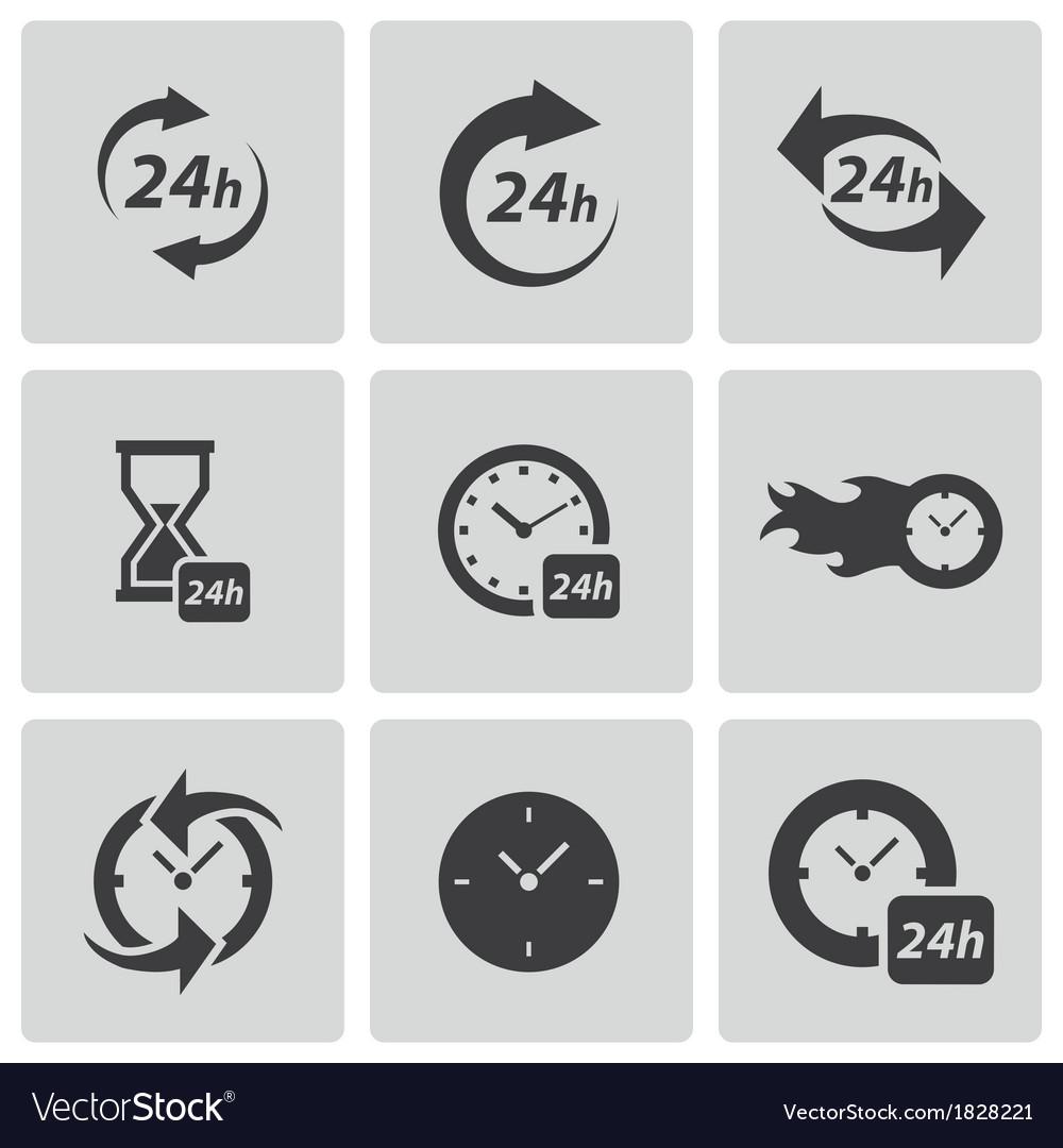 Black clock icons set vector