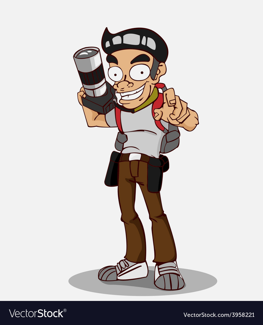 Cartoon character photographer vector