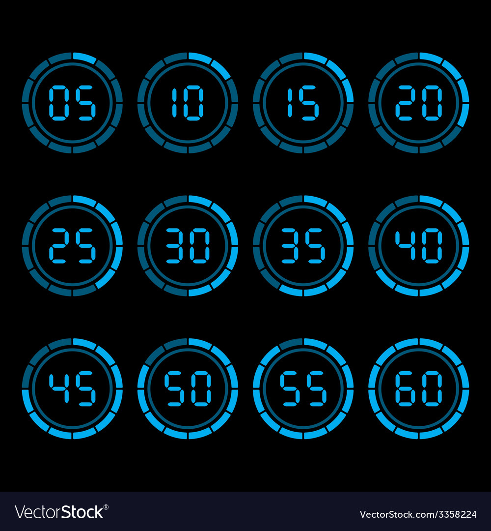 Digital countdown timer with five minutes interval vector