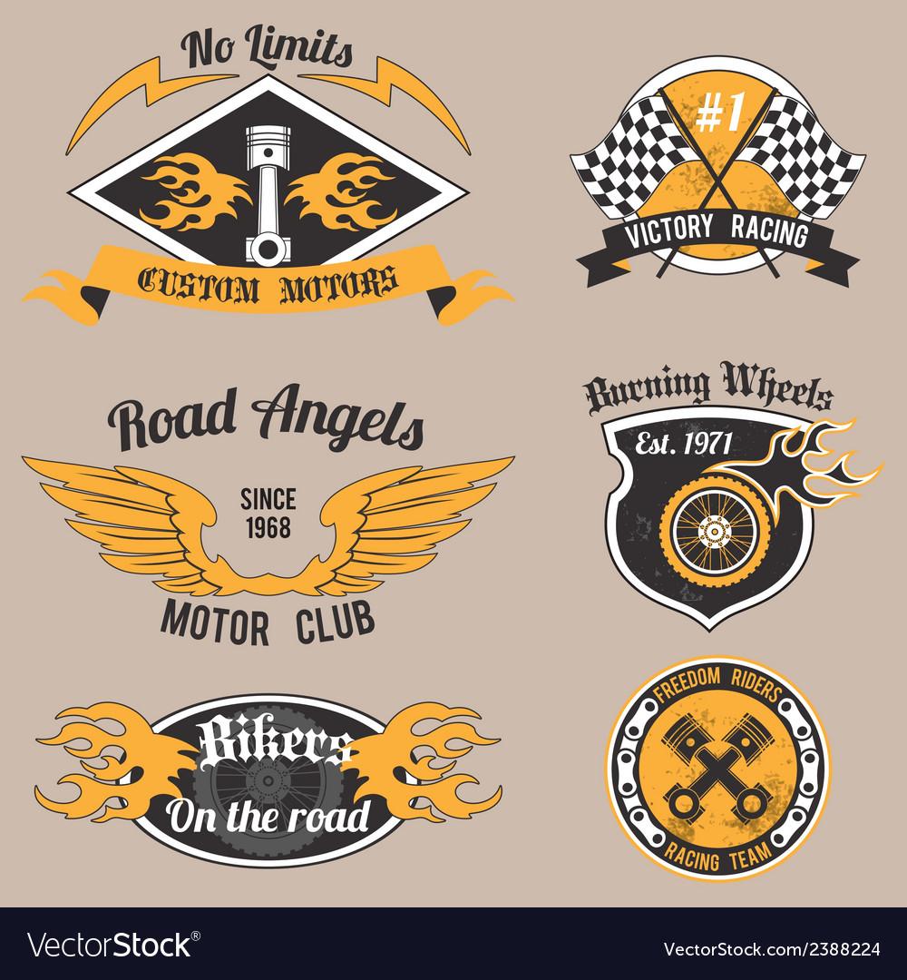 Motorcycle design badges vector