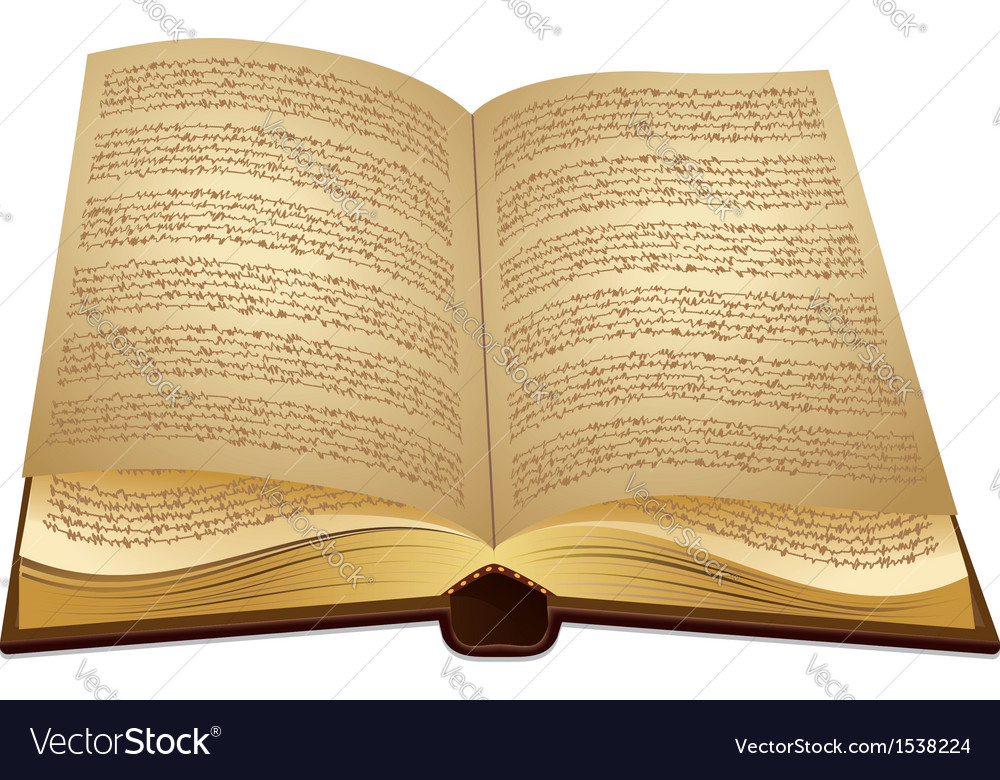 Open ancient book vector