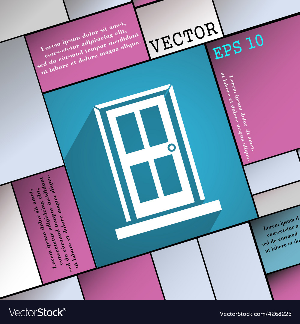 Door icon symbol flat modern web design with long vector
