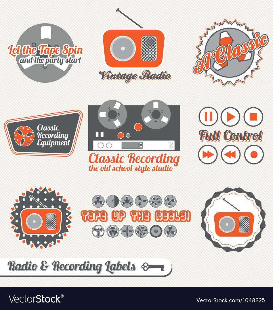 Retro recording and radio labels vector