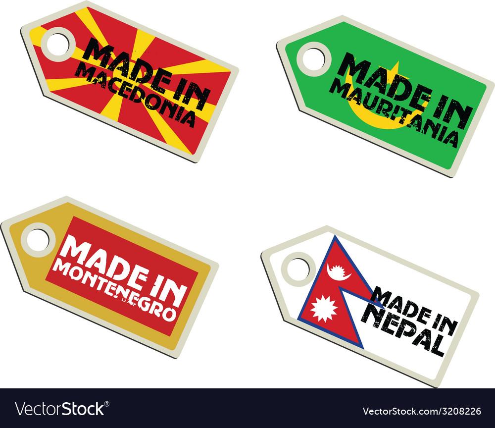 Label made in macedonia mauritania montenegro nepa vector