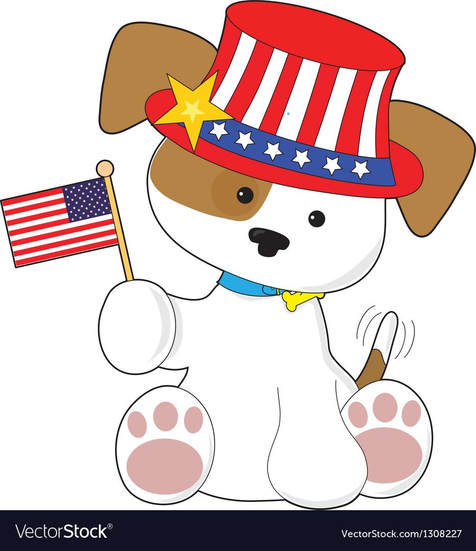 Puppy patriotic vector