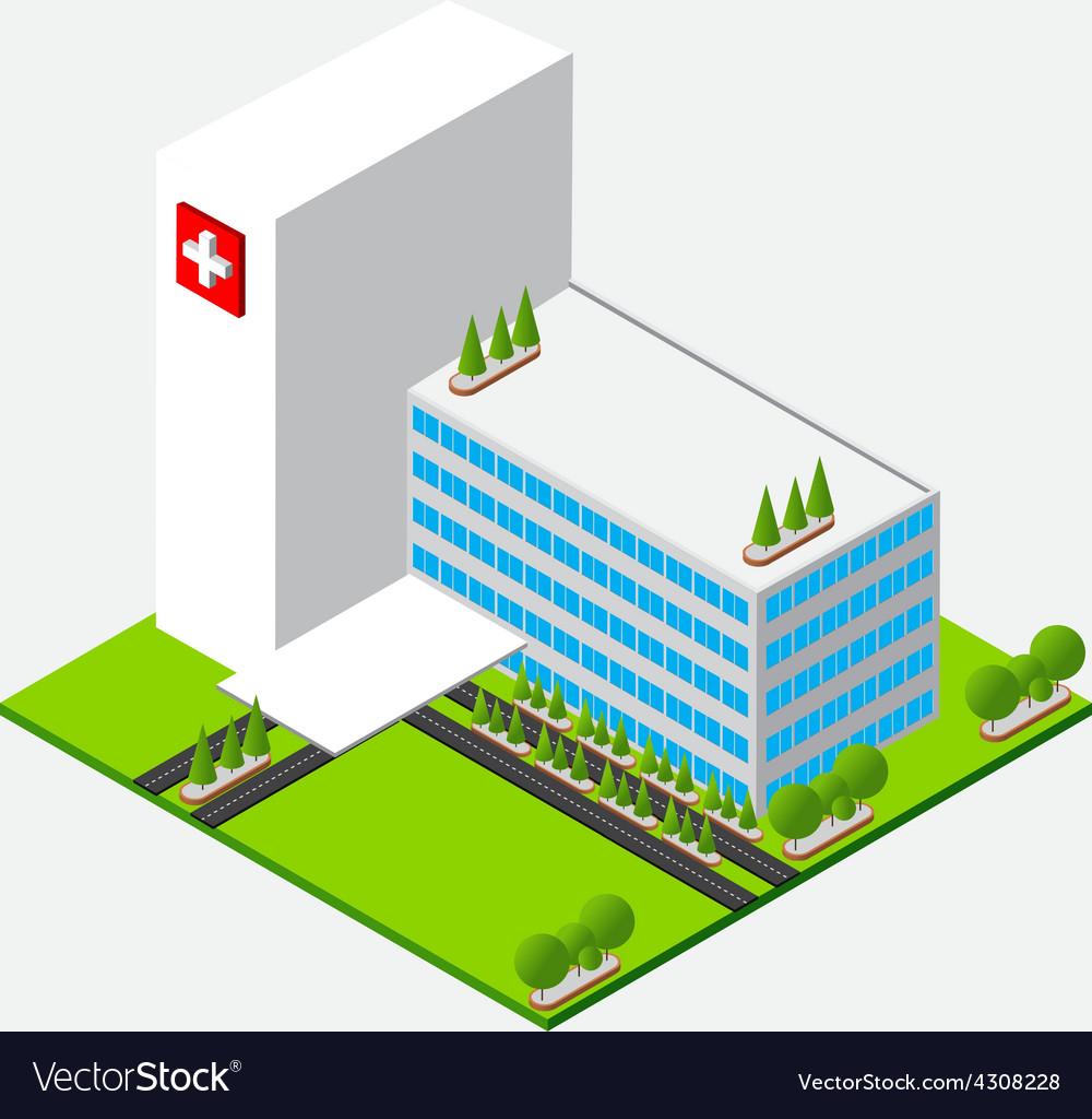 Isometric medium hospital healty and medical vector