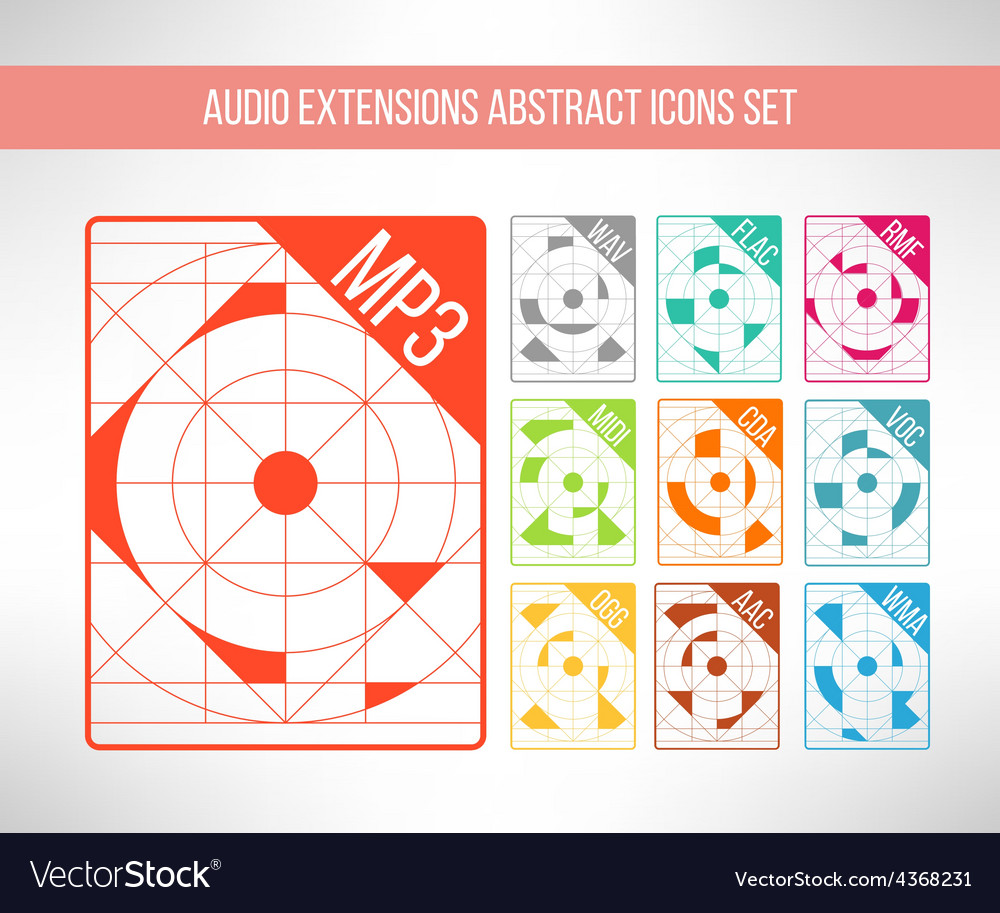 Audio format icons set im modern abstract vector