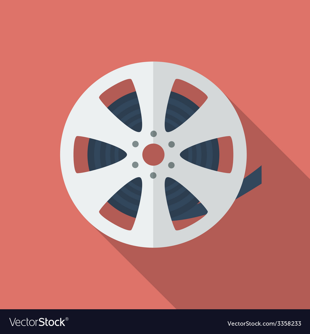 Icon of film reel flat style vector