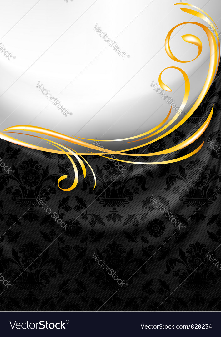 Black fabric curtain gold vignette vector