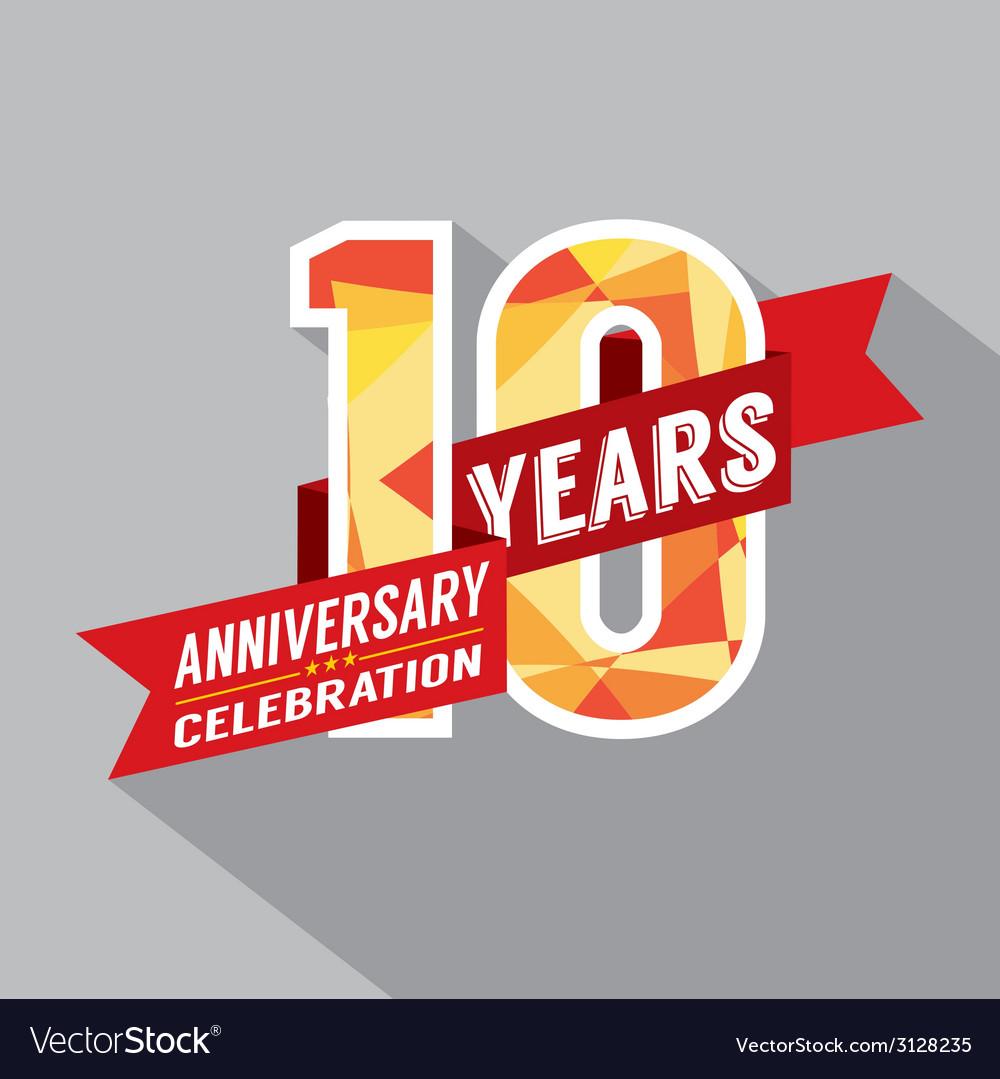 10th years anniversary celebration design vector