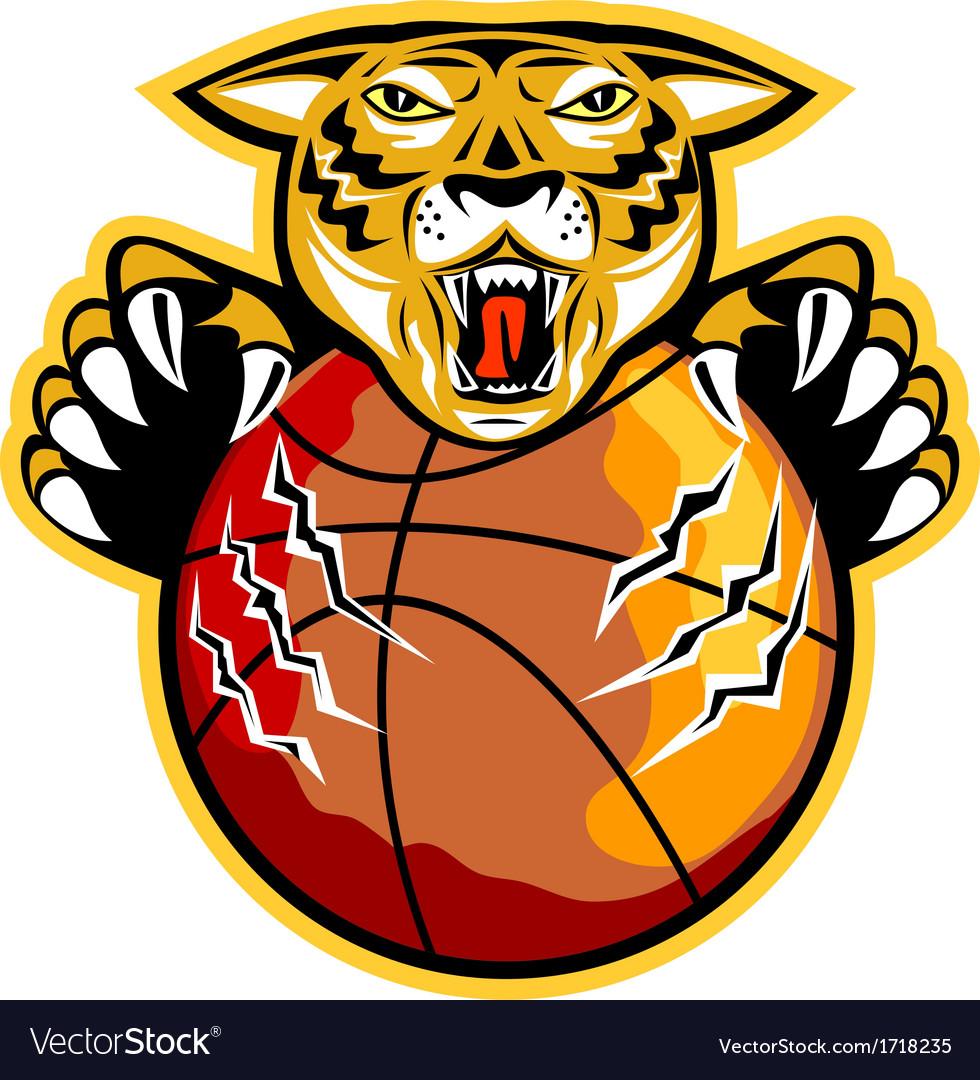 Tiger basketball ball claws vector