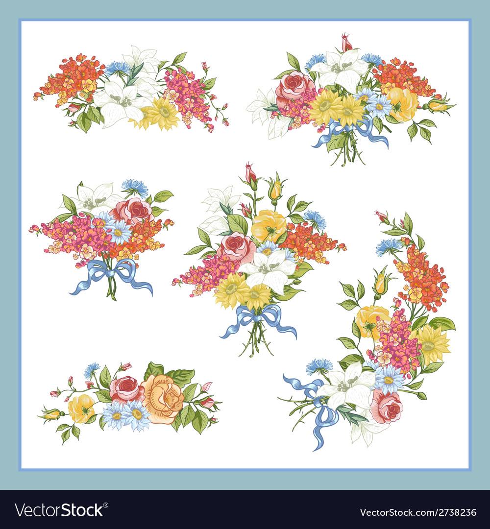 Set of baroque bouquet wildflowers vector