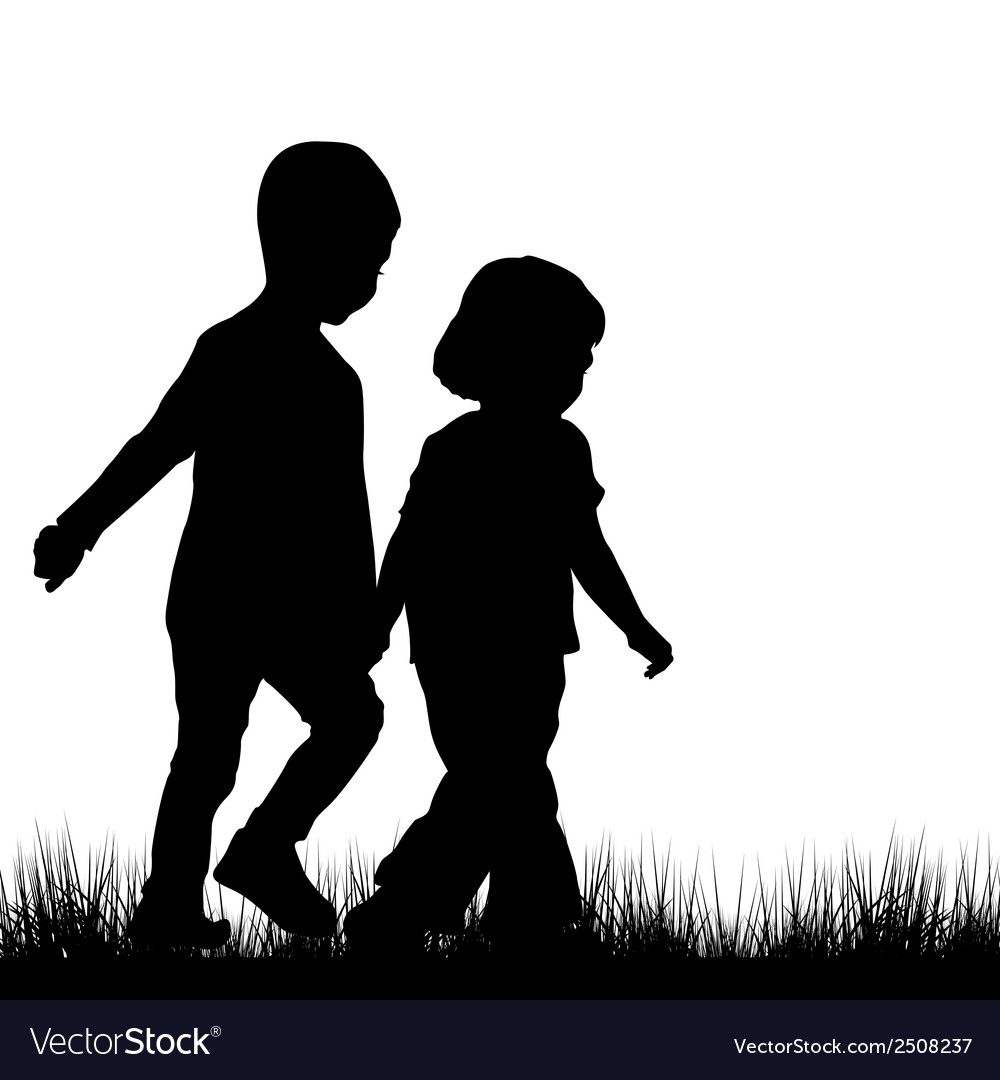 Couple of children silhouettes outdoor vector