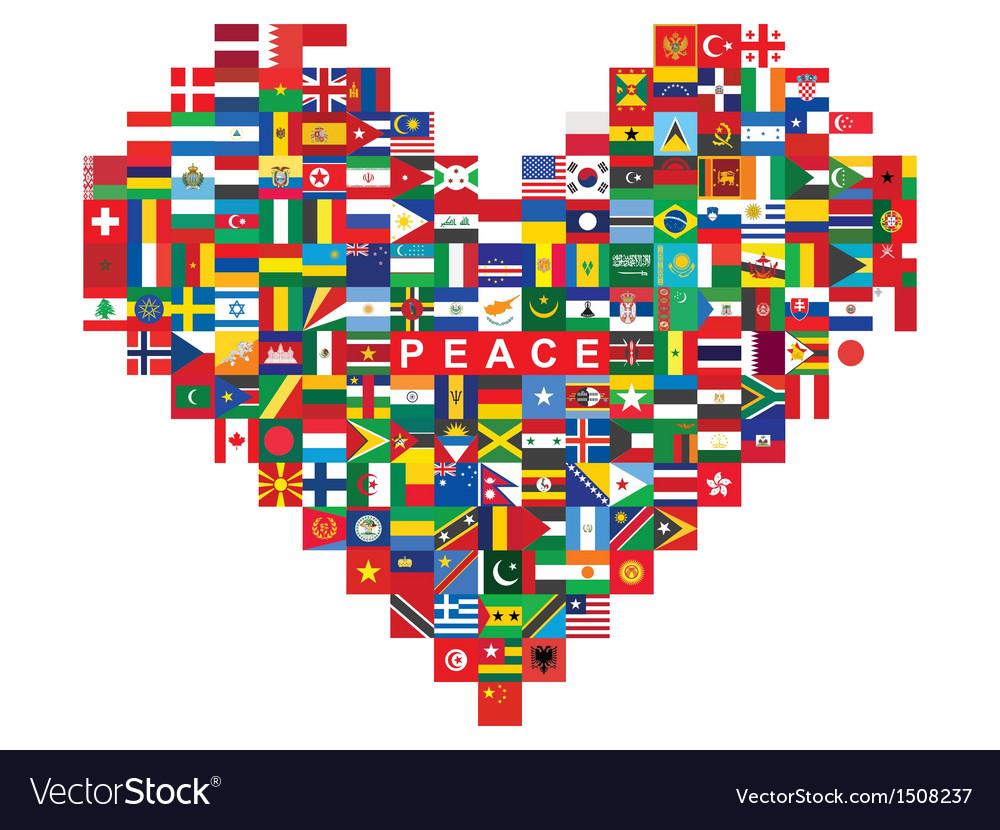 Heart made of flags icons vector