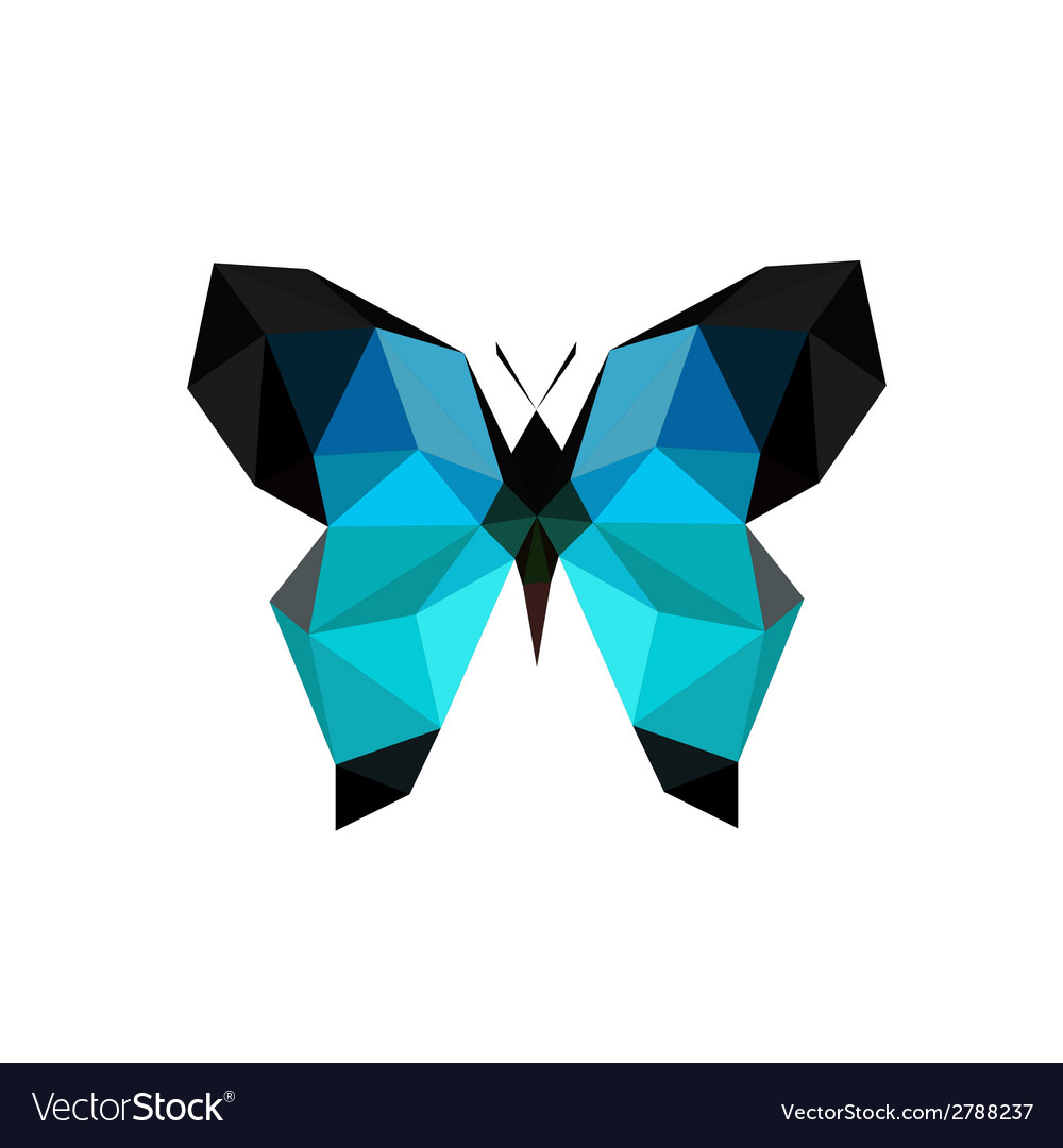 Origami blue butterfly vector