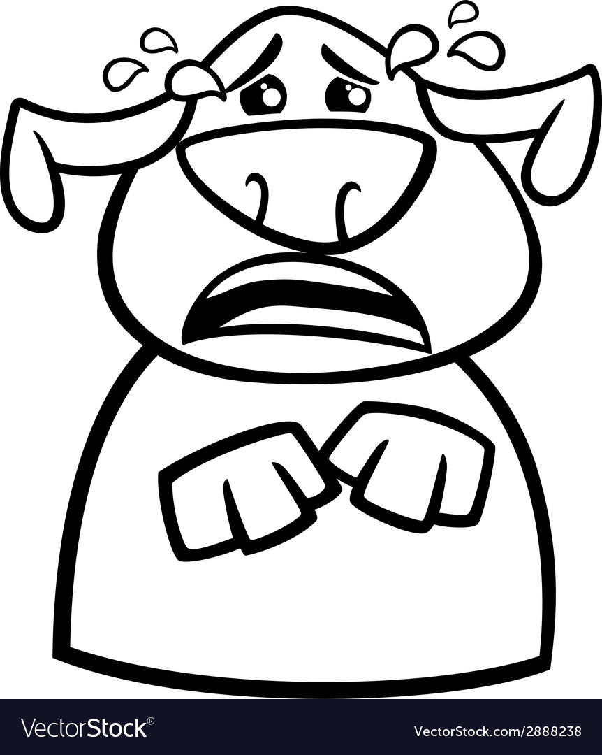 Crying dog cartoon coloring page vector
