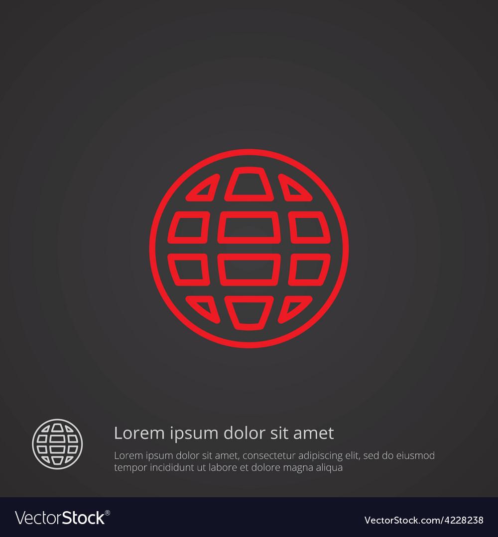 Globe outline symbol red on dark background logo vector