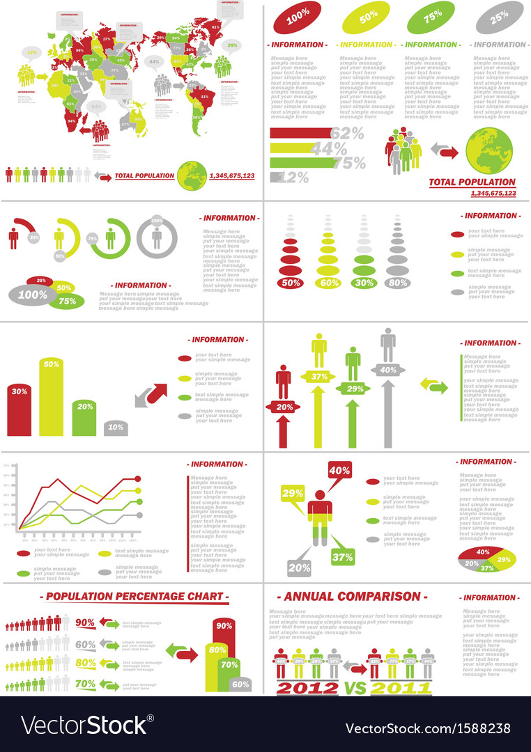 Infographic demographics web elements yellow vector