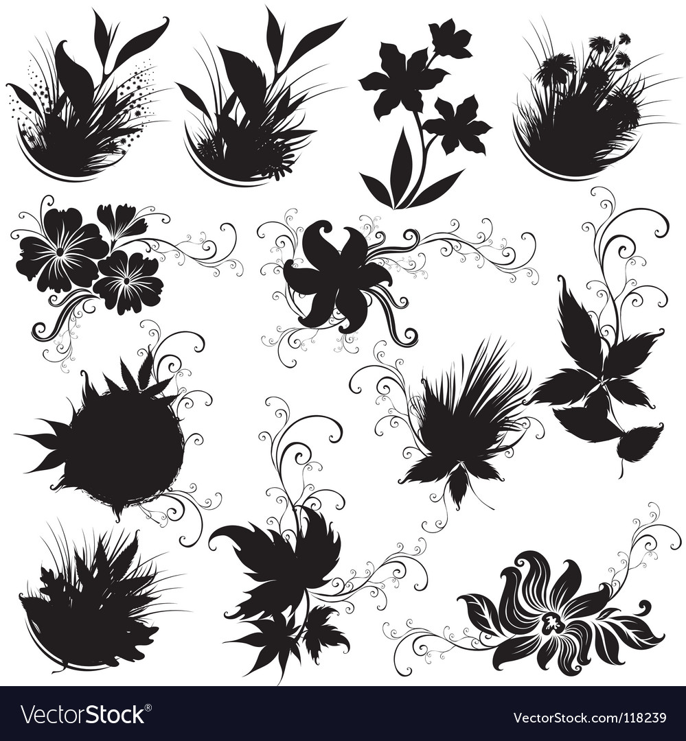 Set of black floral design elements vector